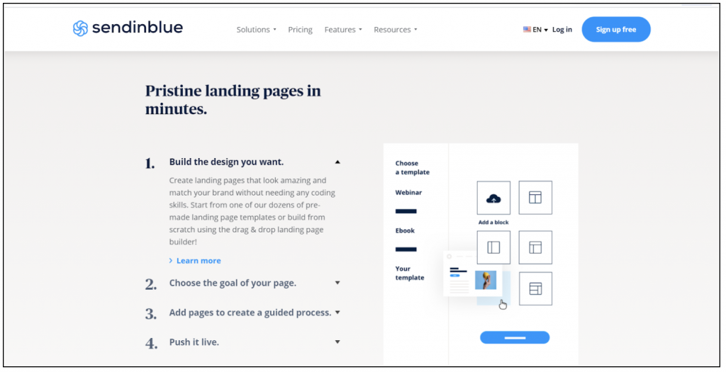 sendinblue landing pages