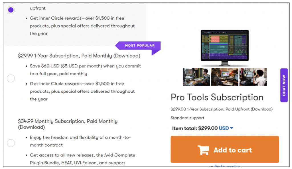 avid pro tools pricing